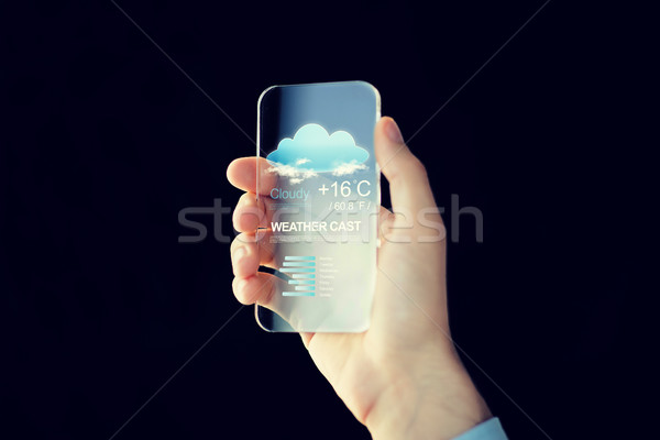 close up of hand with weather app on smartphone Stock photo © dolgachov