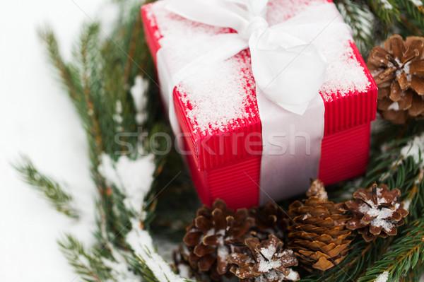 Navidad regalo abeto corona nieve Foto stock © dolgachov