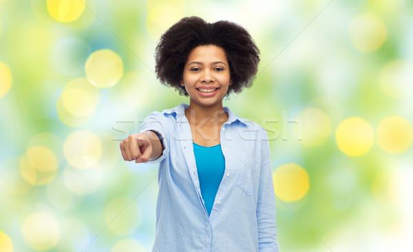 ストックフォト: 幸せ · アフリカ · 女性 · ポインティング · 指 · 人