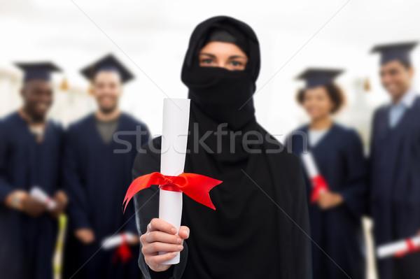 мусульманских студент женщину хиджабе диплом образование Сток-фото © dolgachov