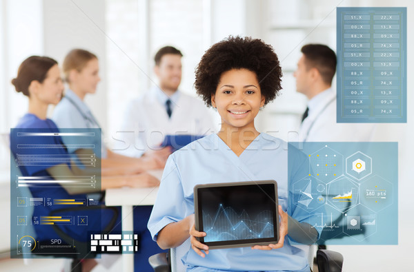 Stock photo: happy doctor with chart on tablet pc at hospital