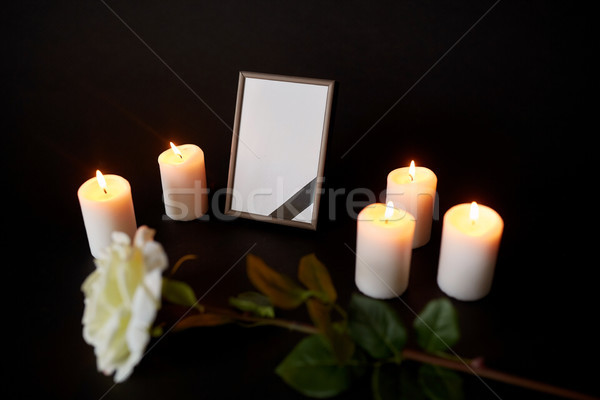photo frame with black ribbon, flower and candles Stock photo © dolgachov
