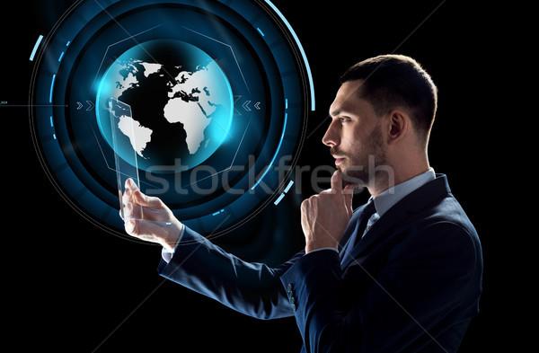 Сток-фото: бизнесмен · виртуальный · мира · бизнеса · реальность