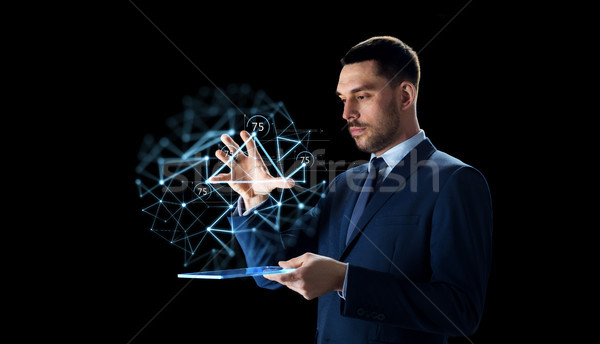 Zakenman laag projectie zakenlieden netwerk Stockfoto © dolgachov
