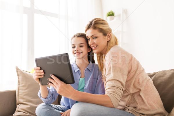 happy family with tablet pc at home Stock photo © dolgachov