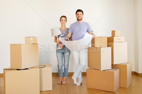 Сток-фото: пару · коробки · план · движущихся · новый · дом · ипотечный
