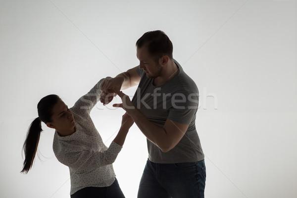 Mérges pár verekedés családon belüli erőszak emberek erőszak Stock fotó © dolgachov