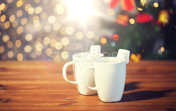 カップ ホットチョコレート マシュマロ 木材 休日 冬 ストックフォト © dolgachov