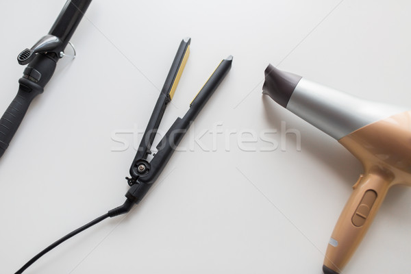 hairdryer, hot styler and curling iron or tongs Stock photo © dolgachov