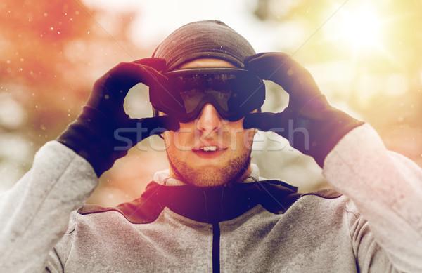 スポーツ 男 冬 屋外 フィットネス ストックフォト © dolgachov