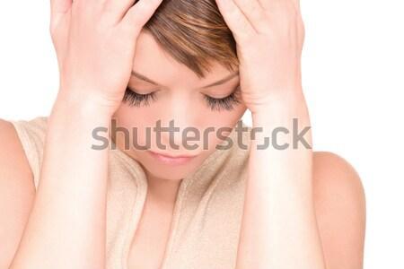 Unglücklich Frau hellen Bild weiß traurig Stock foto © dolgachov