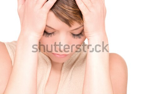 Malheureux femme lumineuses photos blanche triste Photo stock © dolgachov