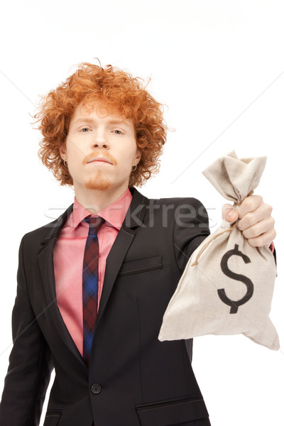 man with dollar signed bag Stock photo © dolgachov