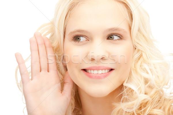 Mujer escuchar chismes brillante Foto Foto stock © dolgachov