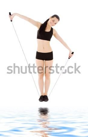 Kız siyah iç çamaşırı pembe saç pinup görüntü Stok fotoğraf © dolgachov
