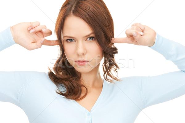 ストックフォト: 女性 · 指 · 耳 · 画像 · ストレス · 頭