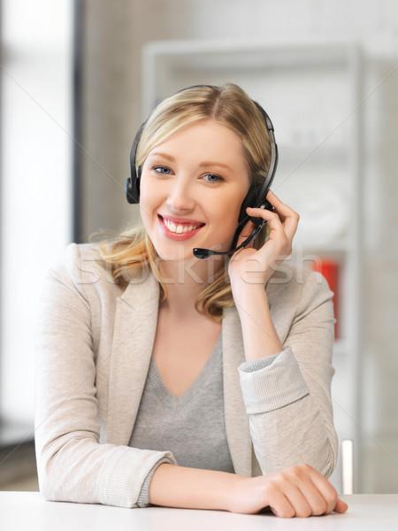 дружественный женщины телефон доверия оператор ярко фотография Сток-фото © dolgachov
