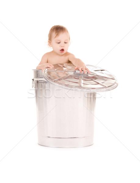 ребенка мусорное ведро фотография прелестный счастливым ребенка Сток-фото © dolgachov