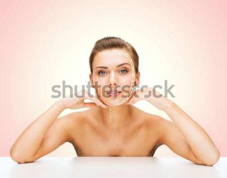 Güzel üstsüz kadın külot parlak resim Stok fotoğraf © dolgachov