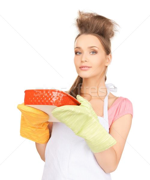 beautiful cooking housewife Stock photo © dolgachov