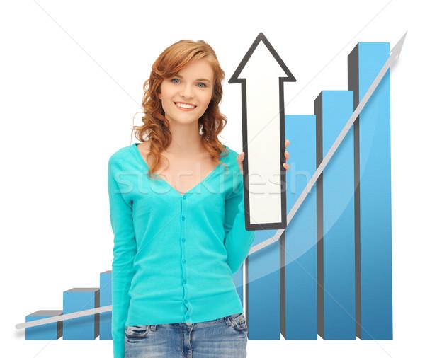 girl with big 3d chart holding arrow sign Stock photo © dolgachov