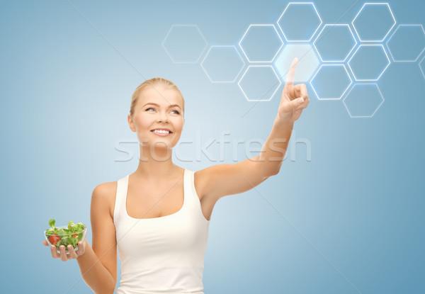 Nő saláta virtuális képernyő tart dolgozik Stock fotó © dolgachov