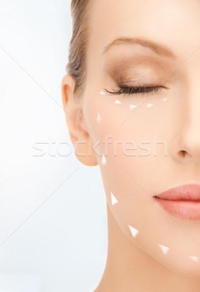 Vrouw klaar cosmetische chirurgie foto mooie vrouw gezicht Stockfoto © dolgachov