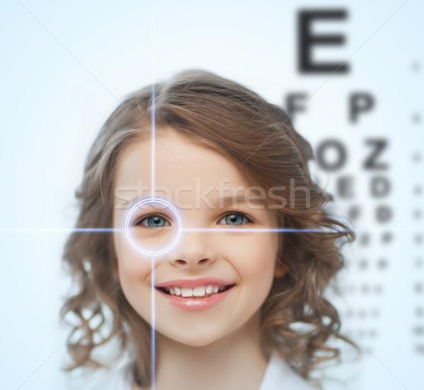 girl with eyesight testing board Stock photo © dolgachov