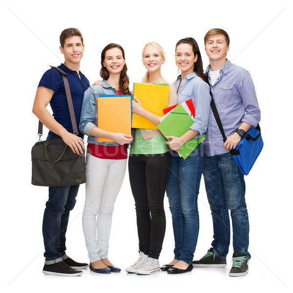 Groep glimlachend studenten permanente onderwijs mensen Stockfoto © dolgachov