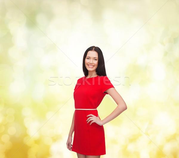 улыбаясь красное платье счастье люди женщину Сток-фото © dolgachov