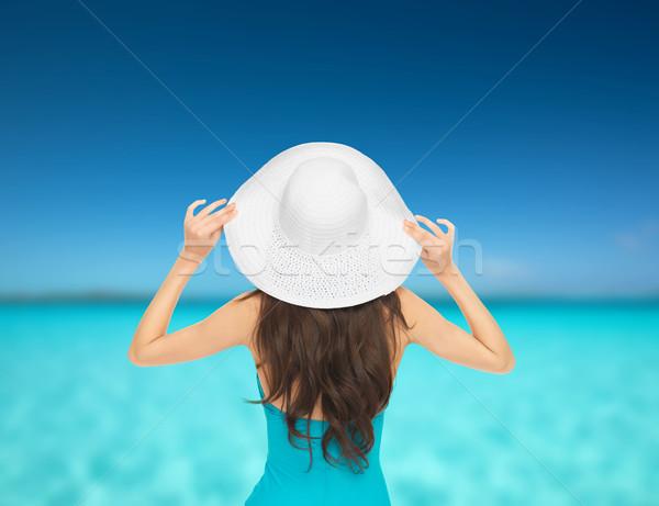 Model mayo şapka tatil yaz tatil Stok fotoğraf © dolgachov