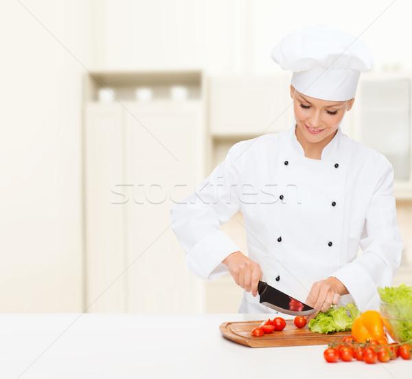 Stock fotó: Mosolyog · női · szakács · tapsolás · főzés · étel