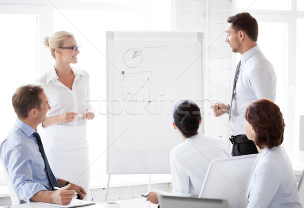 business team working with flip chart in office Stock photo © dolgachov