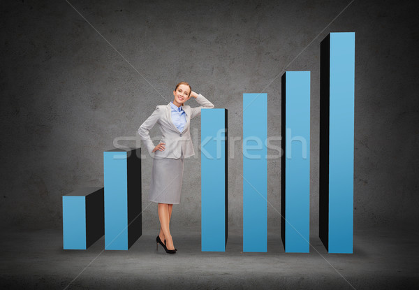 smiling businesswoman with increasing graph Stock photo © dolgachov