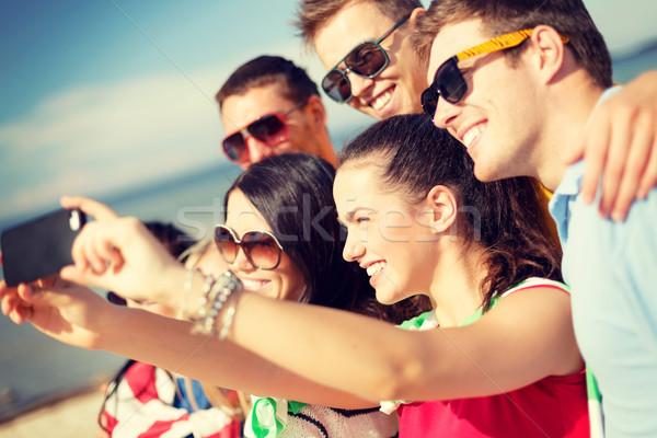 Stock fotó: Csoport · barátok · elvesz · kép · okostelefon · nyár