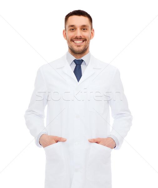 Stok fotoğraf: Gülen · erkek · doktor · beyaz · kat · sağlık · meslek