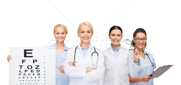 Mosolyog női szem orvosok nővérek egészségügy Stock fotó © dolgachov