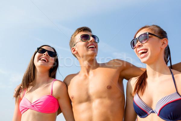 笑みを浮かべて 友達 サングラス 夏 ビーチ 友情 ストックフォト © dolgachov