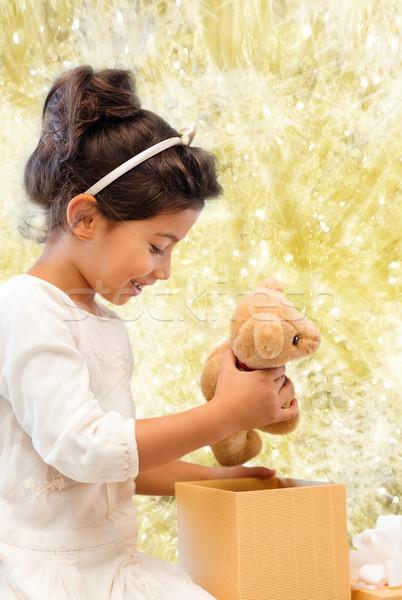 笑みを浮かべて 女の子 ギフトボックス 休日 プレゼント クリスマス ストックフォト © dolgachov
