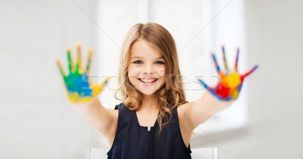 少女 描いた 手 教育 学校 ストックフォト © dolgachov