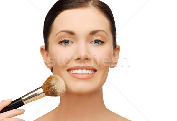 Mujer polvo base cepillo belleza Foto stock © dolgachov