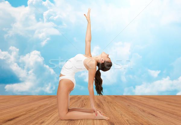 Kadın pamuk iç çamaşırı yoga egzersiz insanlar Stok fotoğraf © dolgachov