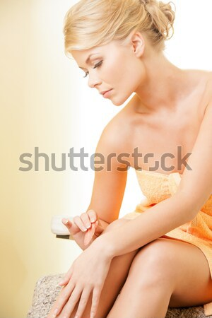 Hermosa top-less mujer brillante Foto blanco Foto stock © dolgachov