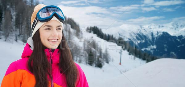 Feliz mulher jovem montanhas inverno lazer Foto stock © dolgachov
