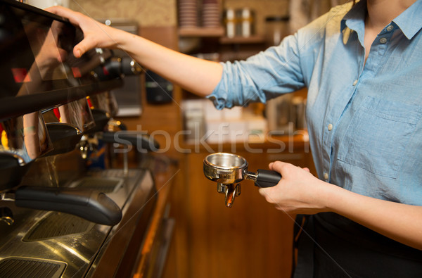 close up of woman making coffee by machine at cafe Stock photo © dolgachov