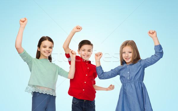 Dziewcząt zwycięstwo dzieciństwo sukces Zdjęcia stock © dolgachov