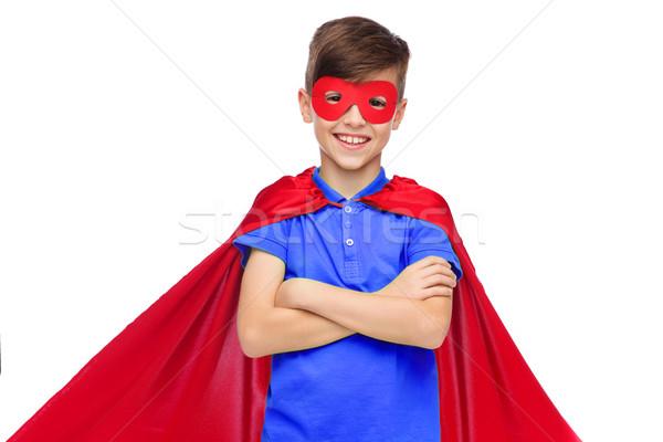 Erkek kırmızı süper kahraman maske karnaval çocukluk Stok fotoğraf © dolgachov