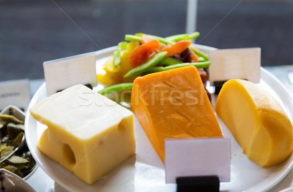 チーズ ショーケース カフェ 食品 食べ ストックフォト © dolgachov
