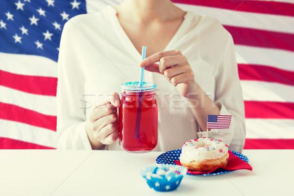 Foto stock: Mujer · americano · día · celebración · vacaciones