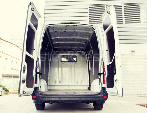 empty minivan car with open doors on city parking Stock photo © dolgachov